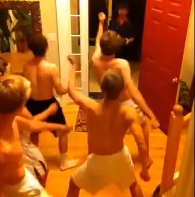 dancing college guys prank