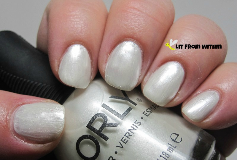 Orly Platinum, a frosty white with a pearlescent finish