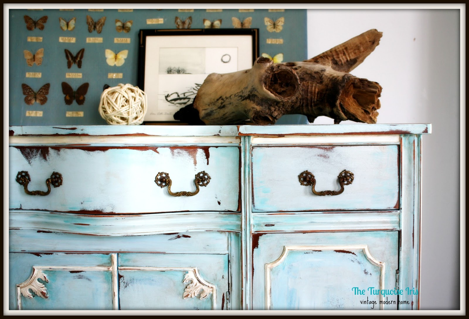 The Turquoise Iris Furniture Art Vintage Buffet In China Blue And Creme