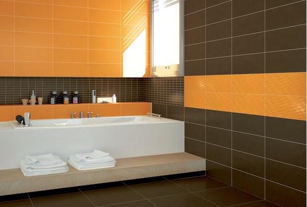 revestimiento en cerámica marrón y naranja Combinación cálida y