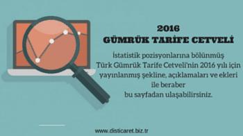 2016 Gümrük Tarife Cetveli