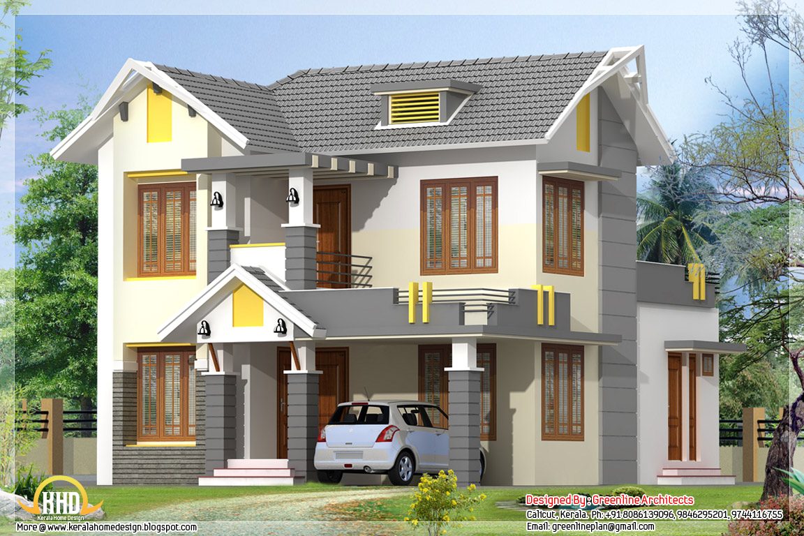 1650 Square Feet, 3 BHK Sloping Roof Home Design