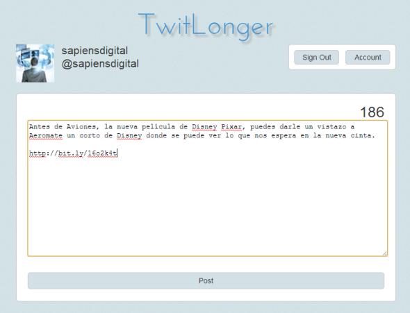 Editando el Tweet en Twitlong.