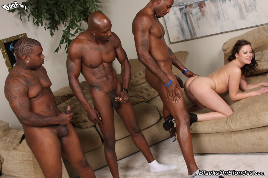 White girl black dude gang bang