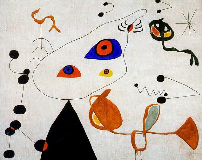 Joan Miro - Femme et oiseau dans la nuit.