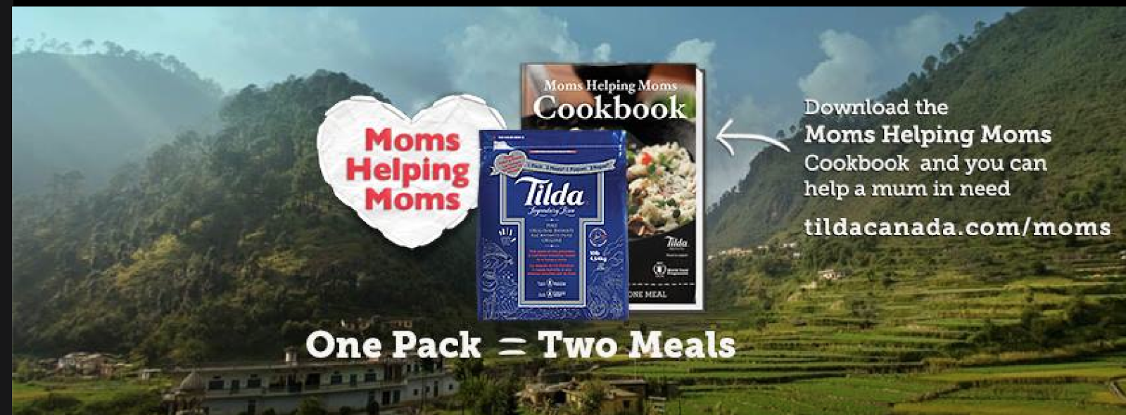 Image Tilda Rice Mums Helping Mums Banner showing Cookbook and Special marked package one pack=Two Meals