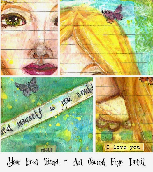 Your Best Friend Art Journal Page Detail by Tori Beveridge