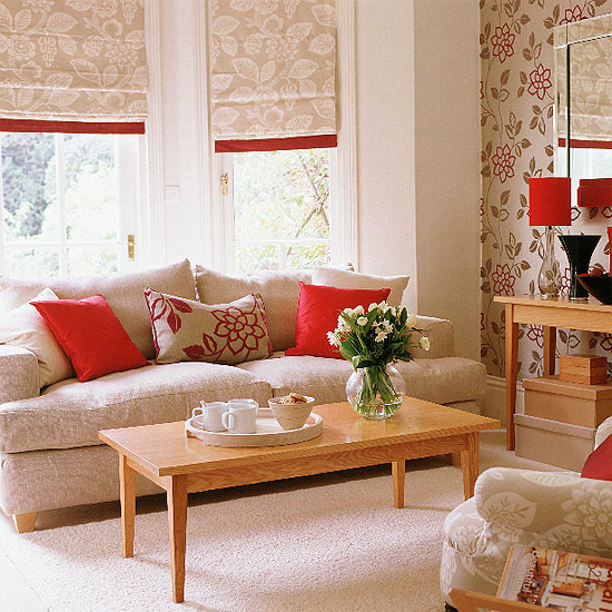 New home interior design collection of country living for Front room feature wallpaper