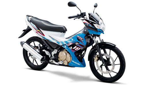 Satria F Terbaru Candy Marine Blue - Brilliant White