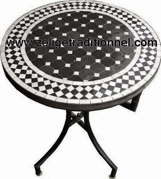 zellige table beige et blanc en mosa que zellige traditionnel marocaine. Black Bedroom Furniture Sets. Home Design Ideas