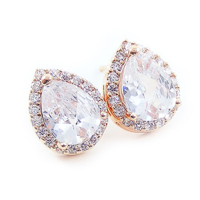 Rose Gold Crystal Bridal Stud Earrings by Blucha Jewels