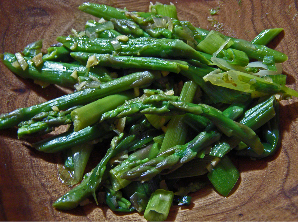 Asparagus Salad on Wooden Plate