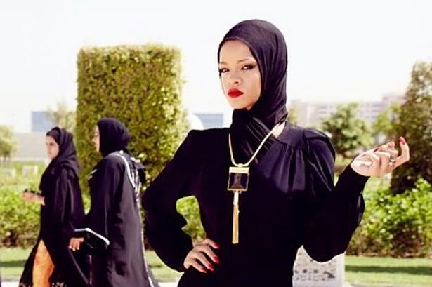 Rihanna posing at mosque