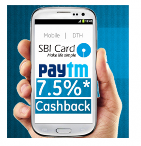Recharge offer:Get Paytm Wallet 7.5% cashback on Rs. 250 for SBI Credit Card