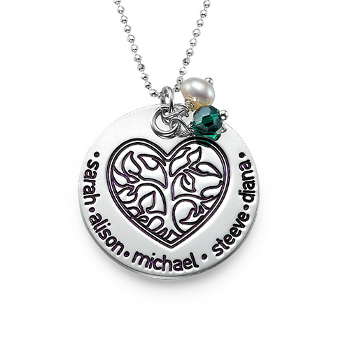Personalized Necklace for Mom with Family Tree