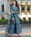 New 2016 Long Sleeve White Glitter Blue Floral Flare Maxi