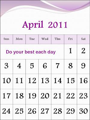 printable april 2011 calendar with holidays. PRINTABLE CALENDAR APRIL 2011