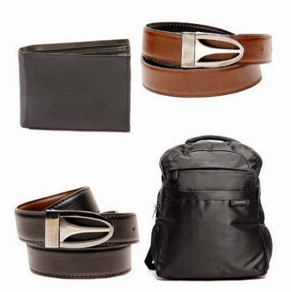 Samsung Unisex Backpack & Leather Reversible Belt & Brown Men Wallet at Rs.570