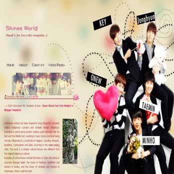Shinee World Blogger Template. template music for blog