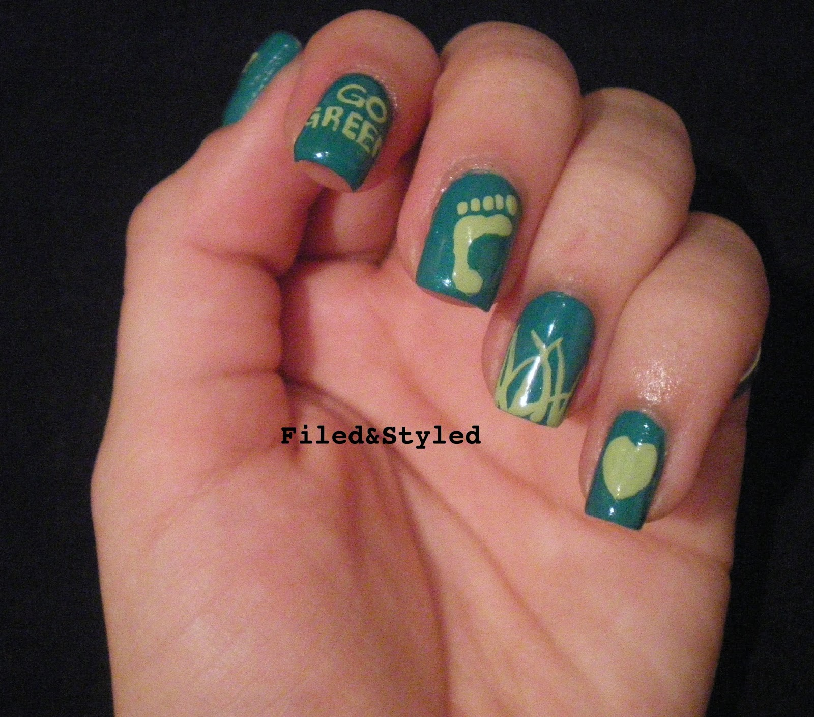 31dc2013 Green Nails | Filed & Styled Filed & Styled: 31dc2013 Green ...