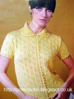 Free 1960's Knitting pattern for a  Cool and Pretty short sleeved cardigan