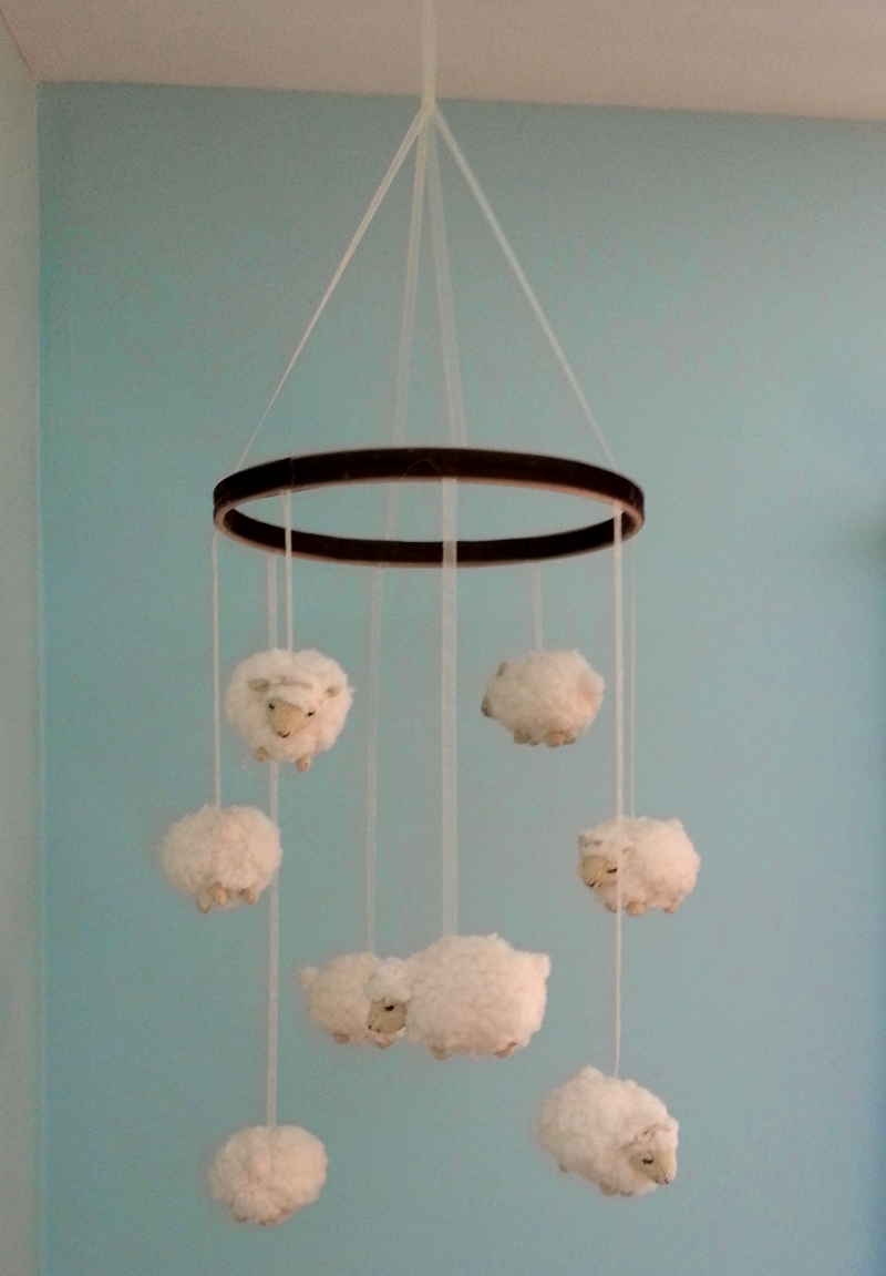 happy medley little lamb nursery mobile diy. Black Bedroom Furniture Sets. Home Design Ideas