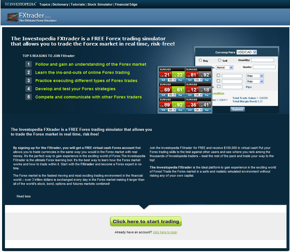 Forex trade simulator