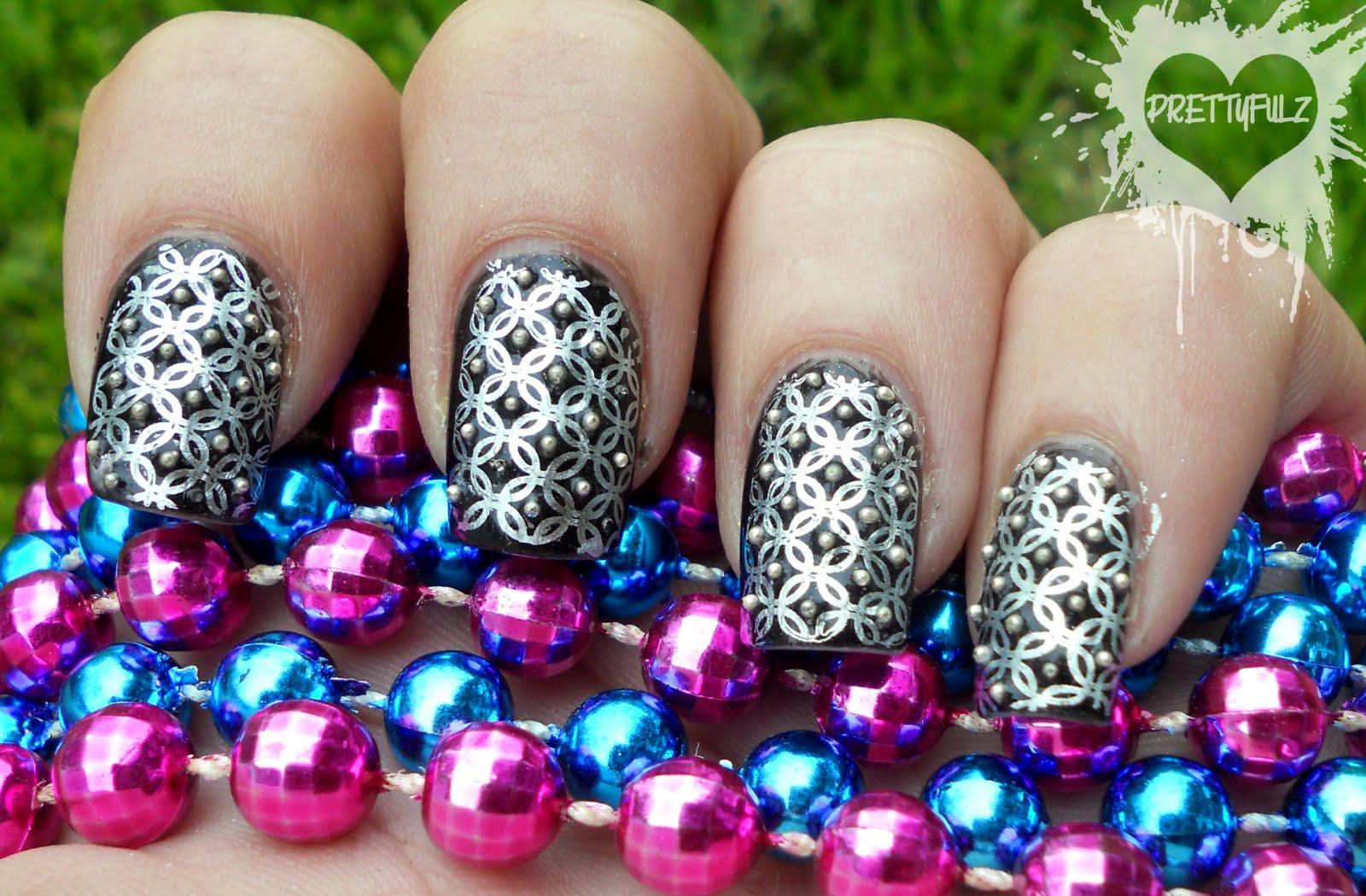 Prettyfulz Black Silver Deco Nail Art Design