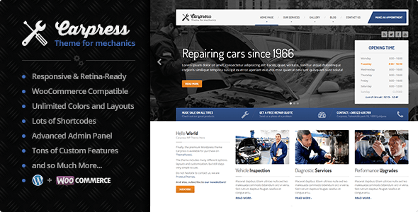 CarPress - WordPress Theme For Mechanic Workshops v1.11.3