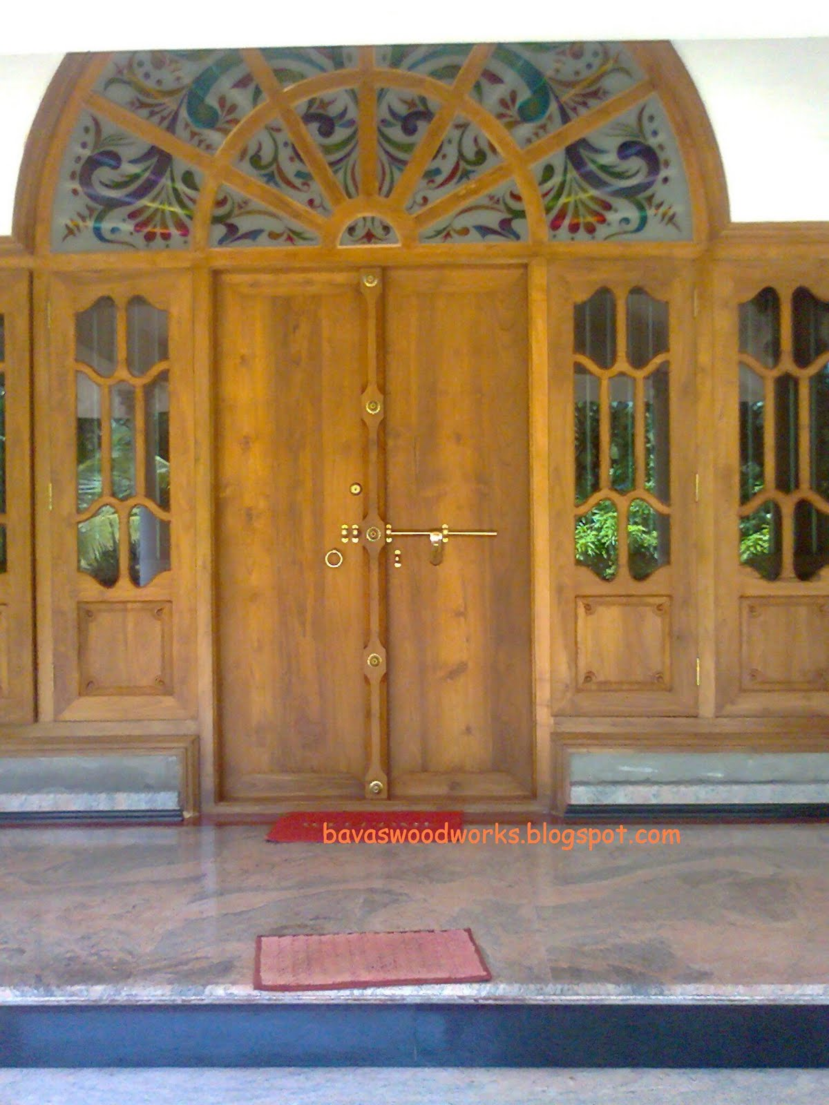 Bavas wood works arched wooden door frame with double for French main door designs