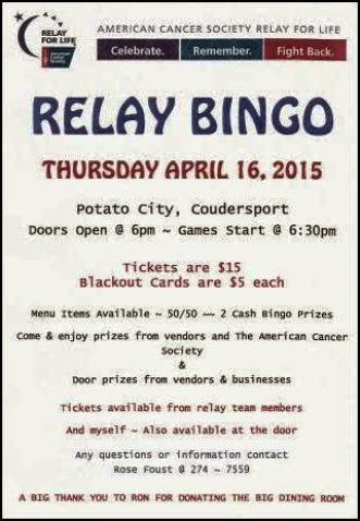 4-16 Relay Bingo At Potato City