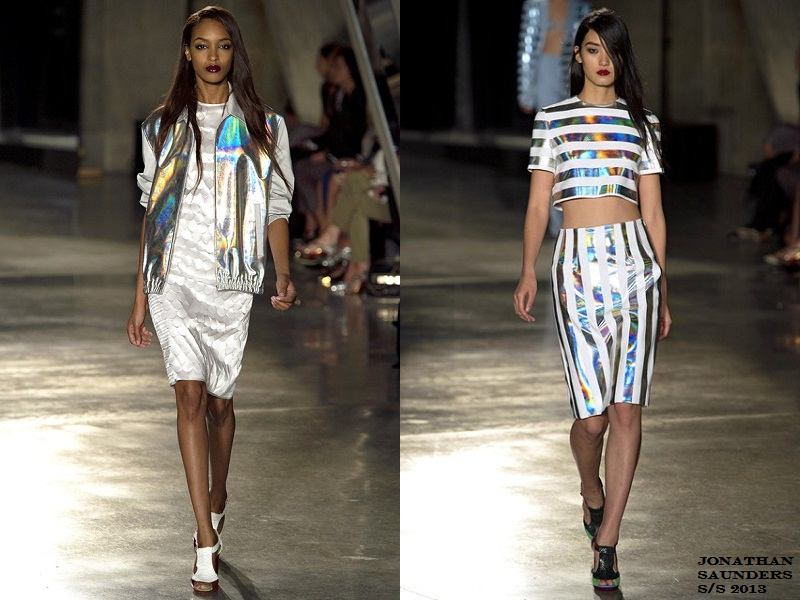 holographic trend, vogue, digital, futuristic, metallic, jonathan saunders S/S 2013