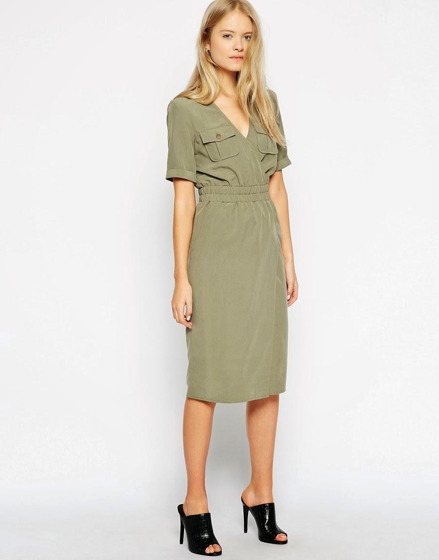 khaki midi dress, khaki military dress,