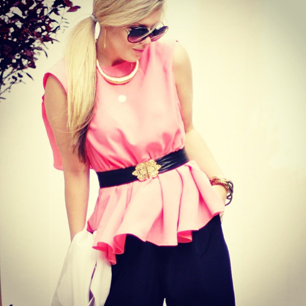 peach peplum top
