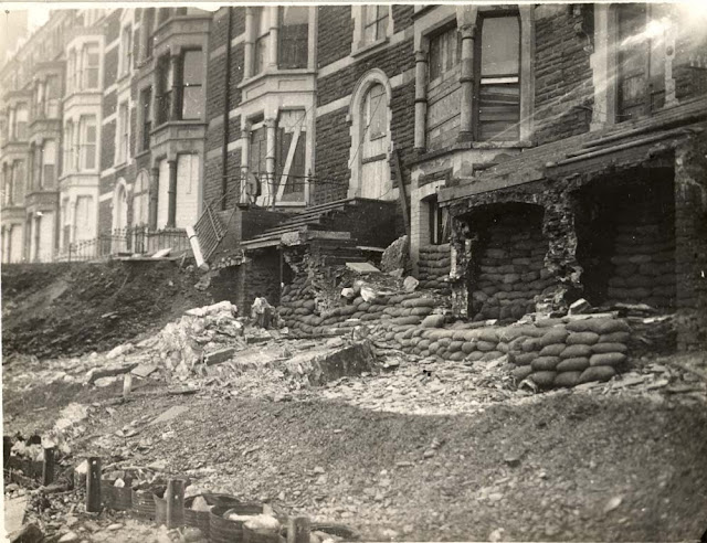 Victoria Terrace, Aberystwyth. Effect of gale of Jan. 15, 1938.