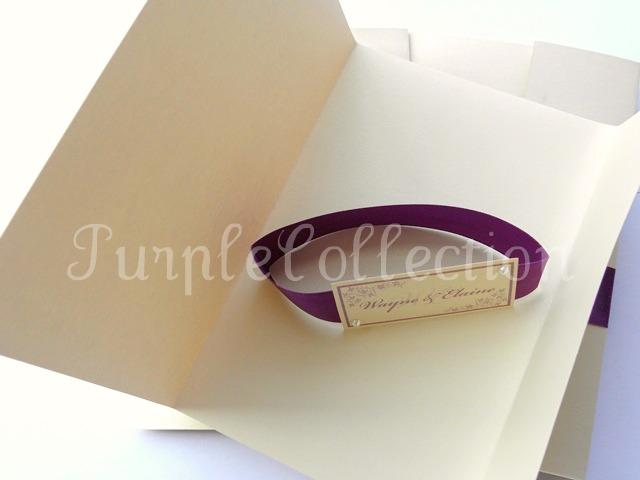 Wayne & Elaine's Wedding Photo Cover, slide off ribbon card, ivory and dark purple, ivory, dark purple, wedding card