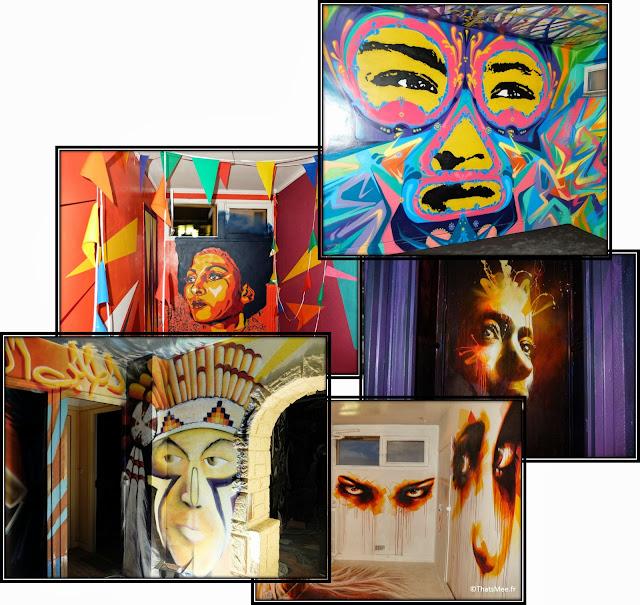 Tour Paris 13 Street art visages faces black panther indien