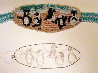January Bead Journal Project 2011 African Penguins with concept sketch