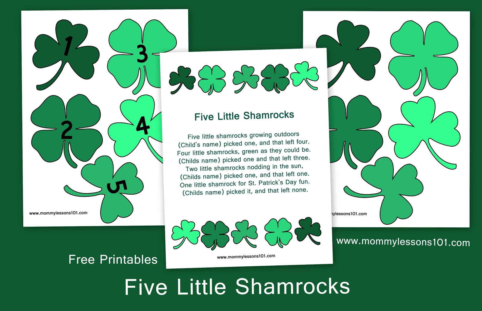 image about Printable Shamrocks identify Mommy Courses 101: 5 Minor Shamrocks -- Totally free Printables