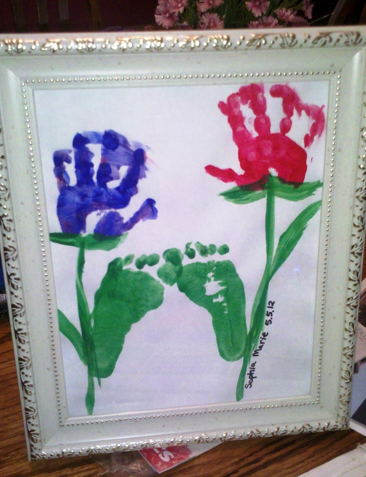 Child 39 s craft hand foot print flowers for Hand and foot crafts