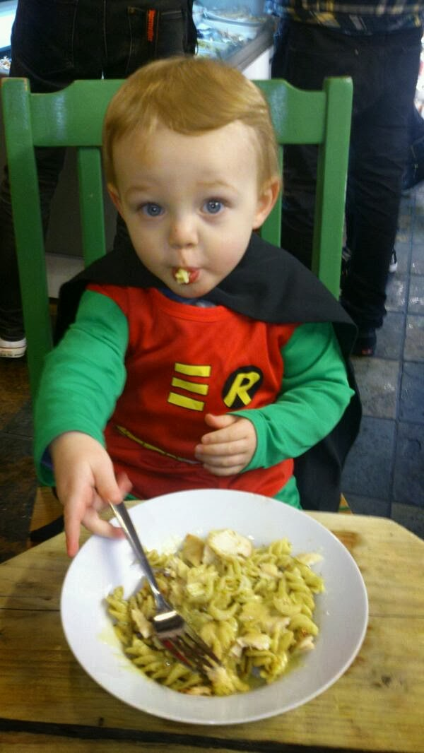 Rocky, Robin, Batman, pasta, eating, Shed Cafe, my life my son my way,