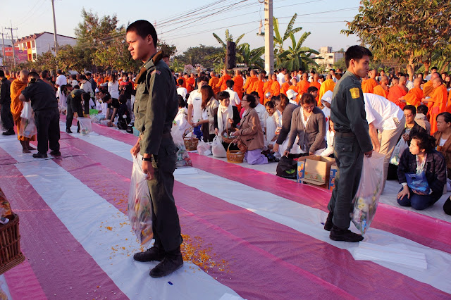 Monks alms-giving in Chiang Mai, military cadets