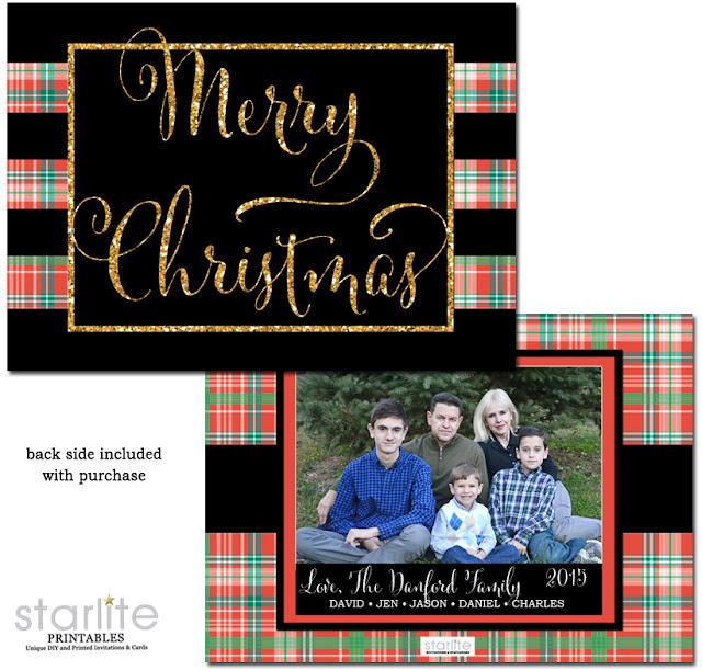 http://starwedd.com/product/plaid-christmas-photo-card-black-gold-glitter-printable-or-printed/