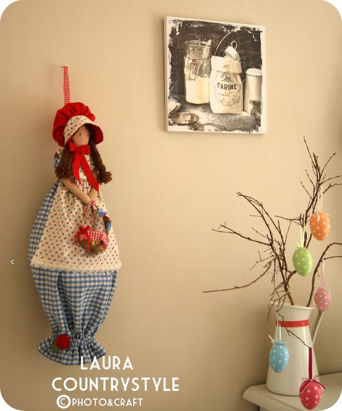Laura country style una bambola porta sacchetti - Porta sacchetti ...