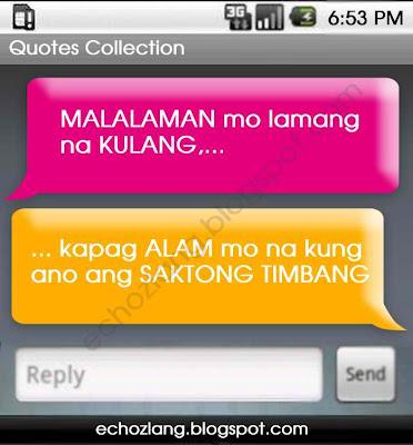 Malalaman mo lamang na kulang  kapag alam mo na kung ano ang saktong timbang.