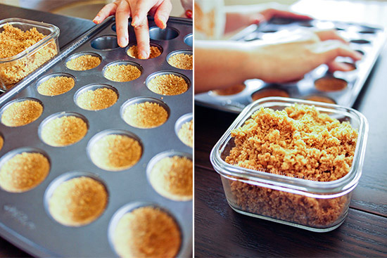 Oatmeal cookie crust being pressed into a Wilton non-stick mini-muffin pan.