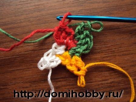 Вязание крючком по кругу разными цветами 14