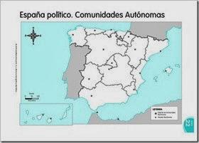 Mapa mudo político España. Comunidades autónomas.