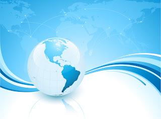 青い世界地図と地球儀の背景 Light blue planet vector