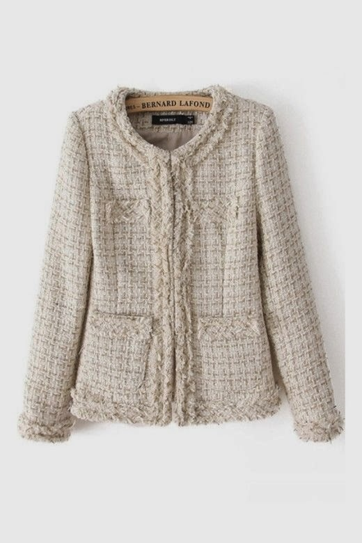 Gorgeous Beige Golden Wire Thicken Long Sleeve Coat for Ladies